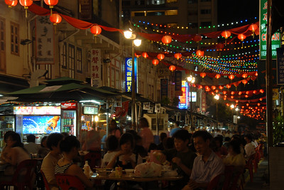 Smith Street (Food Street), China Town.  On 30th May, 2007, The Buddha Tooth Relic temple which is the biggest Buddhist temple in Singapore was re-opened after renovation. The temple is dedicated to Maitreya Buddha, and it houses the Sacred Buddha Tooth Relic.   Singapore's Chinatown is an ethnic neighbourhood featuring distinctly Chinese cultural elements and a historically concentrated ethnic Chinese population although it also houses many other religious places such as the Hindu Sri Mariamman Temple and Jamae Mosque.