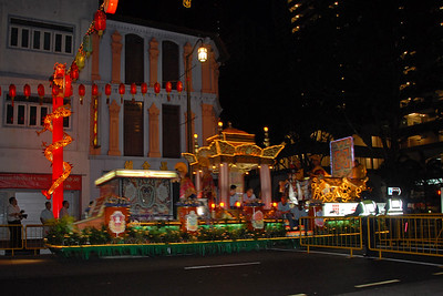 Floats on Vesak Festival, Chinatown. Smith Street (Food Street), China Town.  On 30th May, 2007, The Buddha Tooth Relic temple which is the biggest Buddhist temple in Singapore was re-opened after renovation. The temple is dedicated to Maitreya Buddha, and it houses the Sacred Buddha Tooth Relic.   Singapore's Chinatown is an ethnic neighbourhood featuring distinctly Chinese cultural elements and a historically concentrated ethnic Chinese population although it also houses many other religious places such as the Hindu Sri Mariamman Temple and Jamae Mosque.