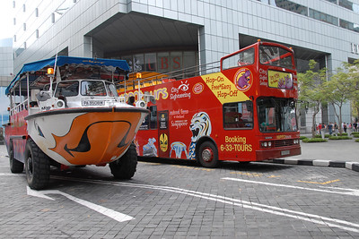 Hippotours and Singapore Ducktours - land and sea adventures. City Sightseing Bus including the frog and amphibious vehicles. Singapore, South East Asia.