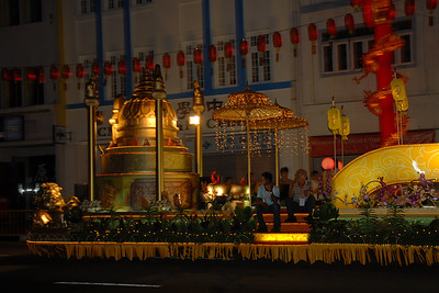 Floats on Vesak Festival, Chinatown.  On 30th May, 2007, The Buddha Tooth Relic temple which is the biggest Buddhist temple in Singapore was re-opened after renovation. The temple is dedicated to Maitreya Buddha, and it houses the Sacred Buddha Tooth Relic.   Singapore's Chinatown is an ethnic neighbourhood featuring distinctly Chinese cultural elements and a historically concentrated ethnic Chinese population although it also houses many other religious places such as the Hindu Sri Mariamman Temple and Jamae Mosque.