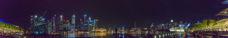 Panoramic view from Waterfront Promenade at Marina Bay. The Singapore government spent for this 3.5 km area $35 million. Marina Bay located in Central Area, Singapore