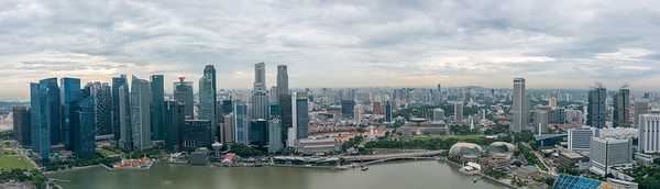 Panoramic aerial view of Marina Bay in the evening, Singapore