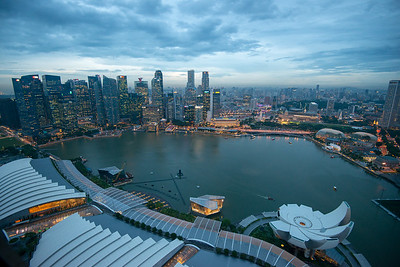 Evening view of CBD, Singapore from Sands SkyPark Observation Deck, on the 57th floor.