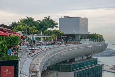 The SkyPark has the world's longest elevated swimming pool, with a 146-metre  (478 ft) vanishing edge (a concept called as infinity pool) located 191 metres above ground. On the same floor as the Sands SkyPark Observation Deck, which is on the 57th floor and offering panoramic city views of CBD, Singapore
