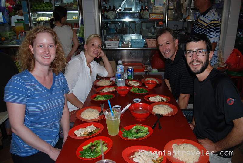 Our group eating chicken rice in Singapore.