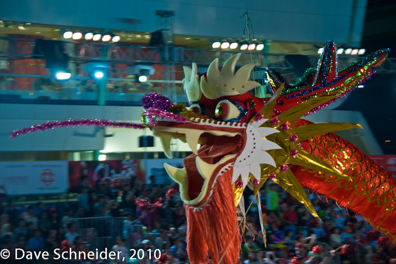 The parade opens with a dragon, of course.
