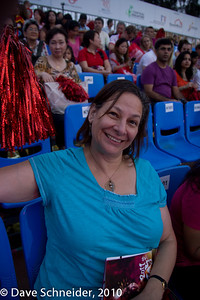 Next day - going to see the actual parade from the stands, with a very enthusiastic Shelly
