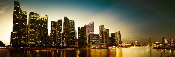 Singapore City at Night Panorama