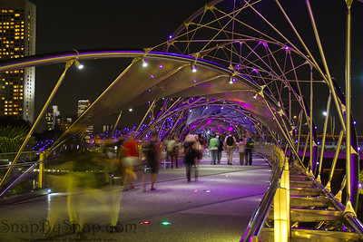 The Double Helix Bridge of Singapore with Pedestrians