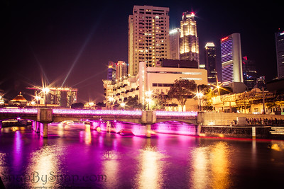 Singapore River at Night with Purple Lights