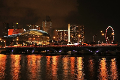 Singapore skyline with the Esplanade theatres and the Singapore Flyer