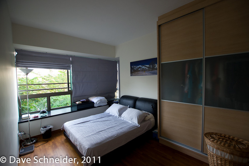 """The master bedroom, with semi-transparent wardrobe door. Shelly says """"who wants to see my clothing?"""""""