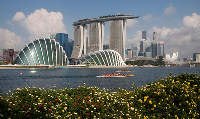 Downtown Singapore along East Marina Bay and new Botanical Gardens