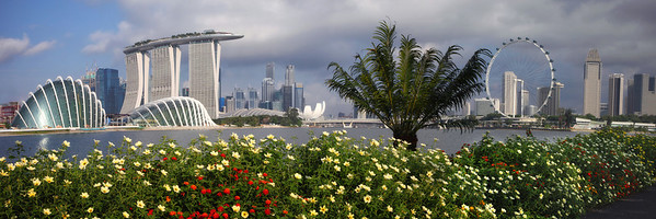 Singapore from across from the new Botanical Gardens on Marina Bay