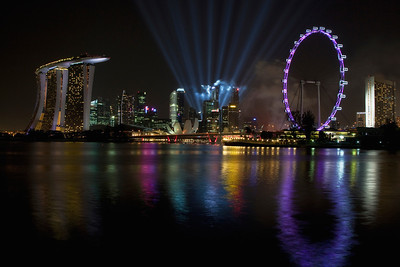 Searchlights over Singapore