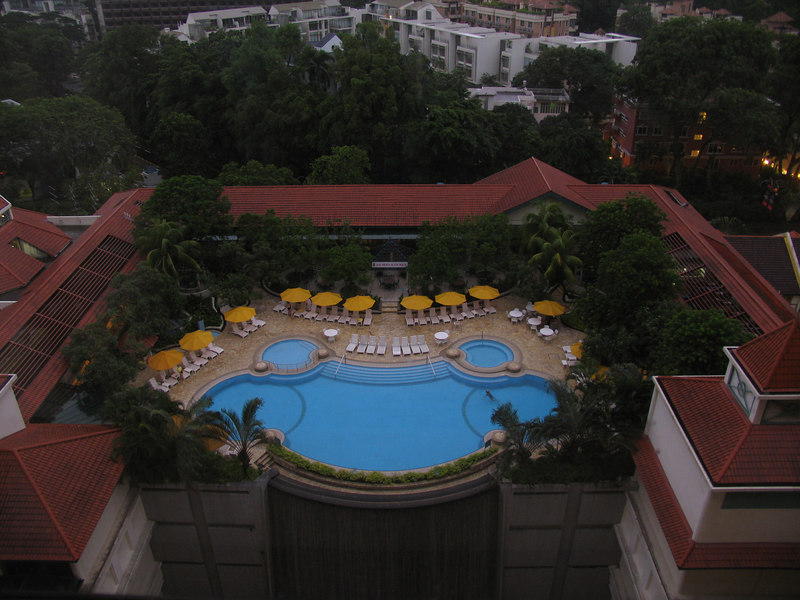 View from the hotel window across the pool above Tanglin Mall.  Little did I know when I took this photo (from 1512, I think) that this view was going to become my regular view for the next 12 months...!