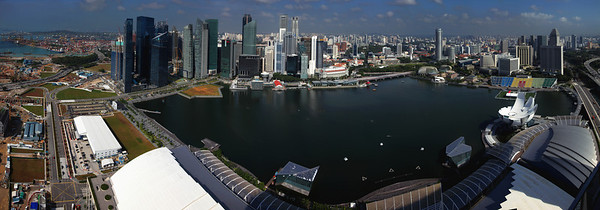 Singapore Marina Bay from the Marina Sands Hotel.  Used 10 portrait images stiched together.