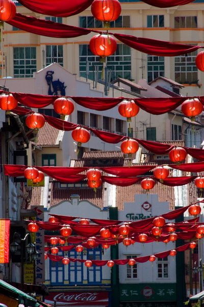 """Red Chinese Lanterns<br /> China Town - Singapore Nov 2006 <br /> Thanks Bryan for showing me how to make the red """"pop"""".<br /> © WEOttinger, The Wildflower Hunter - All rights reserved<br /> For educational use only - this image, or derivative works, can not be used, published, distributed or sold without written permission of the owner."""