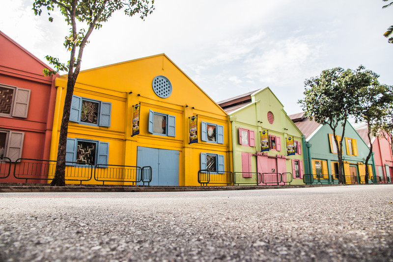 'Singapore Shophouses' - A shophouse is a vernacular architectural building type with a shop on the ground floor for mercantile activity and a residence above the shop. They are normally very colourful and stand out in an otherwise industrial architecture scene.