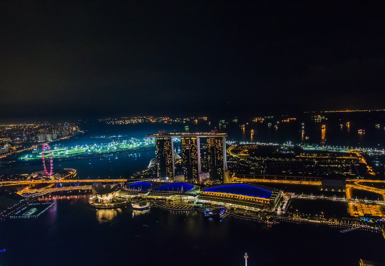 The sweeping view of the Singapore Skyline