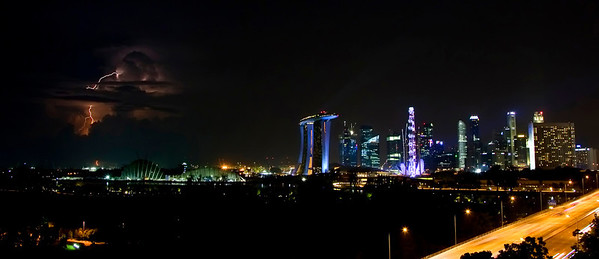 A little more lighting and downtown Singapore