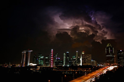 Lightning over downtown Singapore