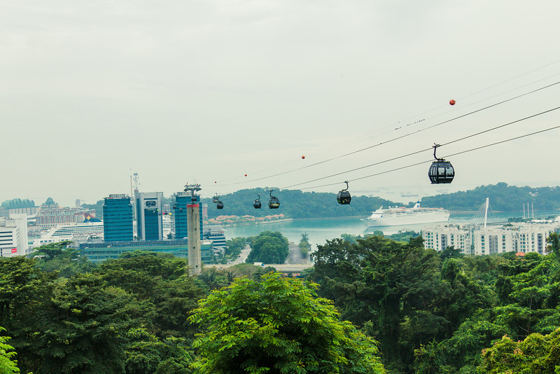 Alternate means of travel. The Cable car leading to Sentosa.
