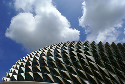 The reptile-like scales of the Esplanade Theatre, Singapore