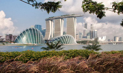 Downtown SIngapore from Botanical Gardens along Marina Bay