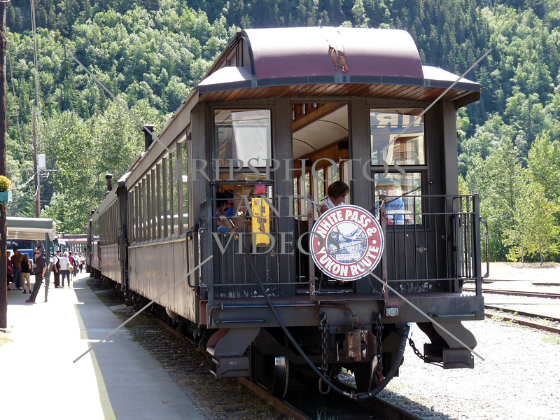 A white pass train at the station in Skagway, Alaska.