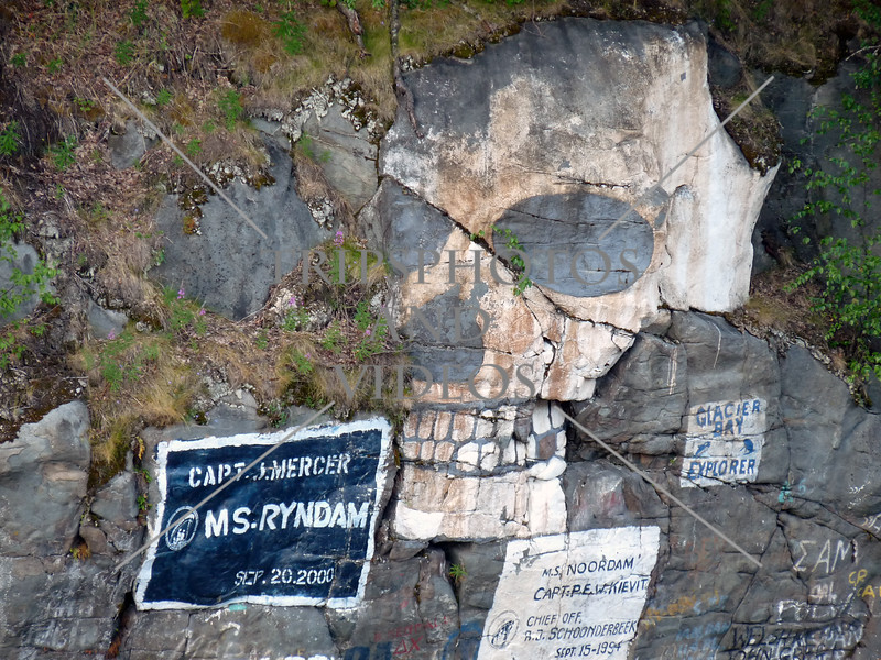 Creative artwork painted on the rocks at the Port of Skagway, Alaska.