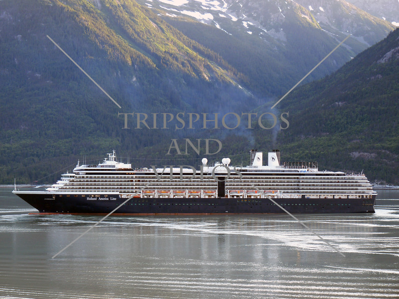 A cruise ship approaches to dock at the port in Skagway, Alaska.
