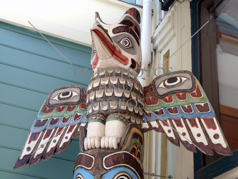 A totem pole in the town of Skagway, Alaska.