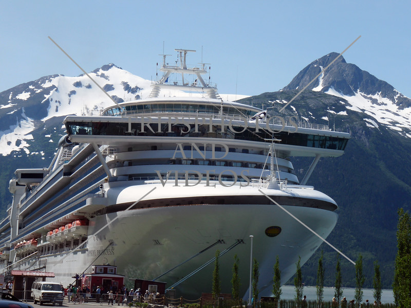 A cruise ship docked at the port in Skagway, Alaska.
