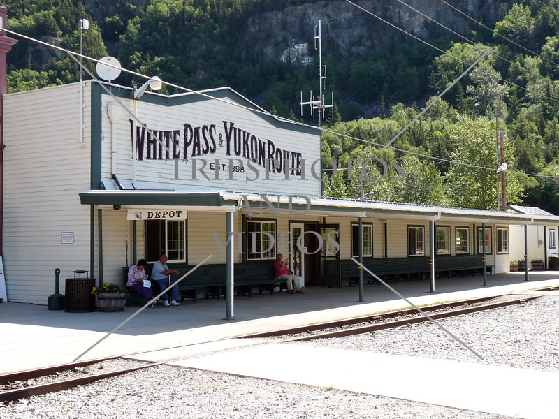 The White Pass train station in the town of Skagway, Alaska.