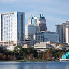 Orlando skyline on a bright morning. Performance band shell in foreground at right.