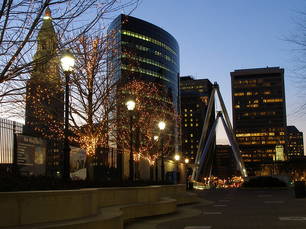 Hartford skyline with holiday lights