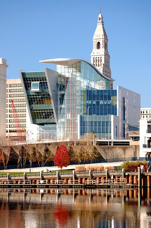 Hartford, Connecticut on an autumn day. New Science Center building and Connecticut River in foreground.