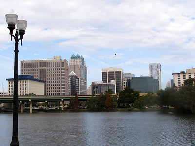 Orlando Florida skyline with lamppost in foreground