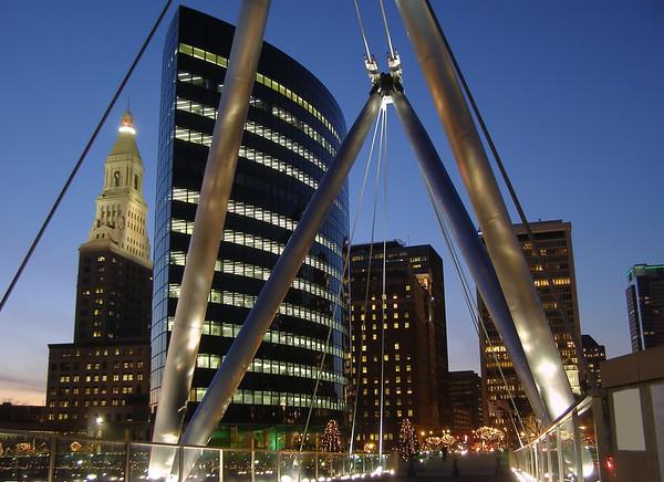 Hartford Skyline from pedestrian bridge