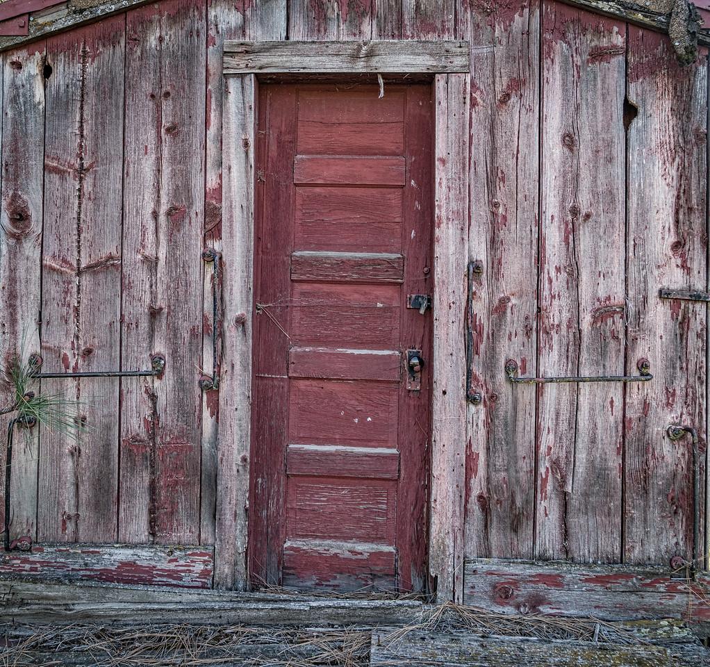 old red wood door