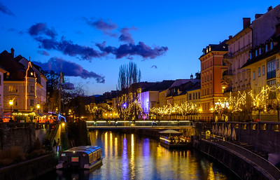 Christmas lights over the Ljubljanica river in central Ljubljana