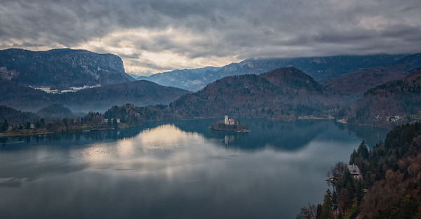 View of Lake Bled from the castle in overcast conditions