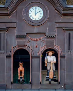 The town clock activates its animatiomn on the hour in Ljubljana