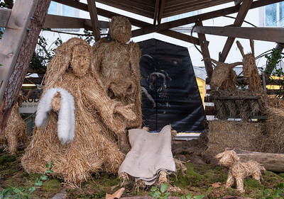 A straw nativity scene in Ljubljana. Looks like the baby Jesus has gone missing...