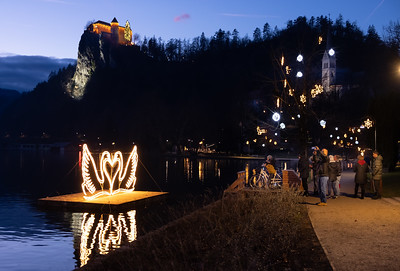 Christmas lights on the shores of Lake Bled