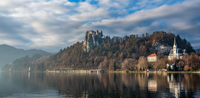 Bled Castle, St. Martin's Parish Church and Lake Bled on a misty morning