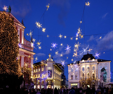 Christmas lights in Presernov trg, the central square in Ljubljana