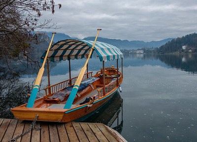 A Pletna boat on Lake Bled