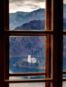 The view from a window in Castle Bled, Slovenia